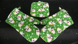 3 piece Snowman OVEN MITTS & HEAT PAD