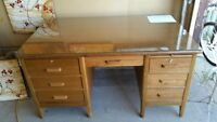 Antique Desk with glass top