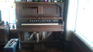 Late 1890s D.W. Karns Woodstock, reed style pump organ for sale