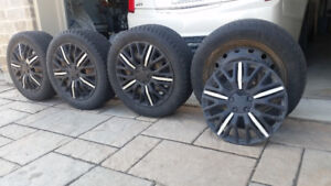 4 TIRES, 4 RIMS AND RIM COVERS