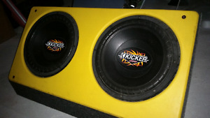 2x12 kicker comp subs in box w amp