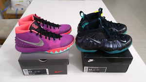 Kyrie1 Easter & Foamposite Pro Vnds tried on indoors