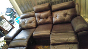 Dual Power Leather Reclining Couch $2,850 New Dont Miss
