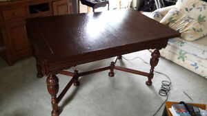 Antique Dining Table with Four Chairs (one Captain)