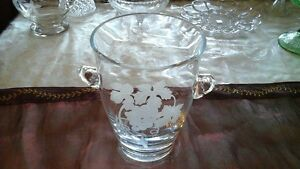 Glass Wine Cooler, Ice Bucket - Etched Grapevine, Vintage Mikasa