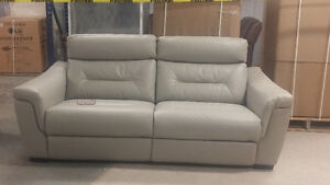 LEATHER LOOK POWER RECLINING SOFA