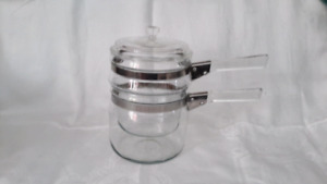 Vintage Pyrex Glass Double Boiler with Lid