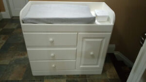 White wood change table with drawers