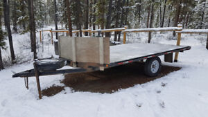 14 ft Flat Deck Snowmobile / Quad Trailer with ramp