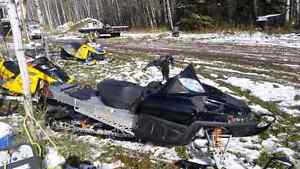 4 sleds for sale and 3 place flat deck trailer