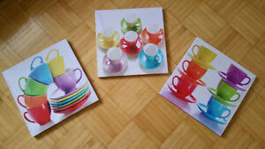 3-piece colorful coffee cup canvas