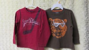 2 Boys Toddler Long Sleeve Tops Brown & Red Size 3 Years