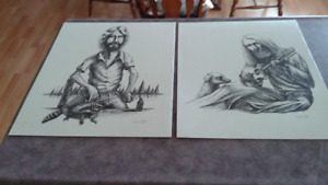 70's Beer drinker and weed smoker sketches / prints