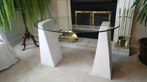 3 glass tables