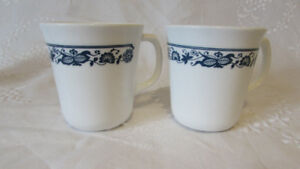 Pair of Corning Old Town Blue Onion Milk Glass Mugs