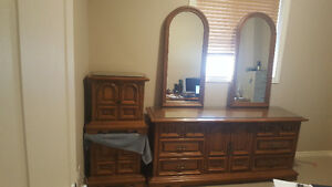 Antique Vilas Dresser with 2 Mirrors and 2 night stands