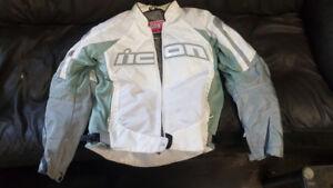 Icon Contra Motorcycle riding jacket white..  alpine star pant