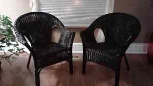 2 Black Wicker Chairs For Sale