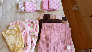 Baby blankets, receiving blankets, swaddling blankets.