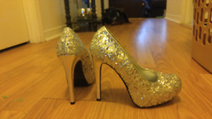 Silver sequined shoes for sale!!!
