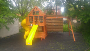assemblage structure bois play set cedar summit et big backyard