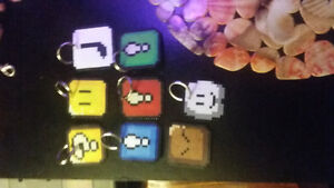 mario themed perler bead keychains and creations