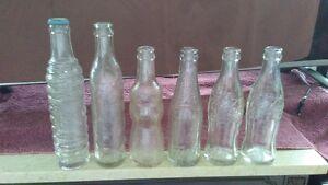 6 Embossed Soda Bottles