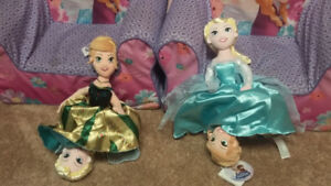 Disney Frozen toddler chairs and reversible Anna Elsa dolls