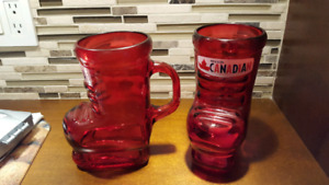 Set of 2 Molson Canadian Hockey Skate Beer Mug Red Glasses
