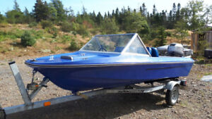 14' fibreglass boat and trailer