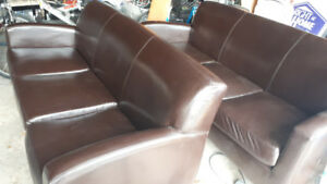 AVAILABLE-2 THREE SEAT BROWN LEATHER SOFAS  in Oakville