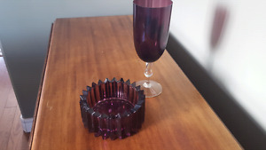 Amethyst glass and ashtray.