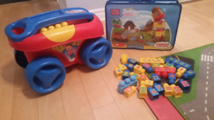 Mega Bloks first and junior builders - Chariot, Train, Chiffres