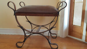 Decorative Metal and Leather Bench / Seat