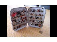 Wheatley rare Silmalloy box with approx 90 clips Flies include rare bumblebee