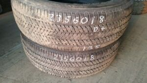 Pair of 2 Bridgestone Dueler HT 684II 235/60R18 tires (55% tread