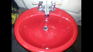 Red Kohler vanity sink -USED -  $50.00