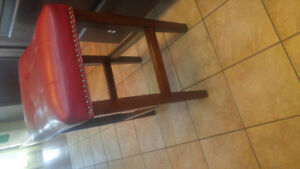 2 Red Leather Bar/Kitchen Stools
