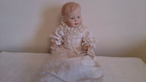 "SML ANTIQUE 10"" Baby Composition Body Marked Repro Bisque Head"