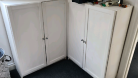 Two white shelving units - ideal for upcycling