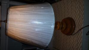 Beautiful turned wood lamp new shade