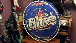 Labatt BLUE bar tower, beer keg fridge and bar neons!