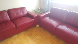 Dark Red Bonded Leather Sofa Set