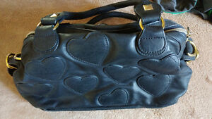 Black hearts leather purse