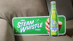 "STEAM  WHISTLE  24""Sign Plus  6 S.W. glasses"