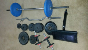 Weights, Bars, Bench and Floor Pad