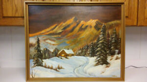 Beautiful vintage big size winter oil painting