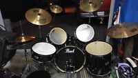 PEARL EXPORT 5 pc full kit symbals double bass pedal etc
