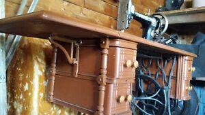 Vintage sewing machine & Antique cabinet