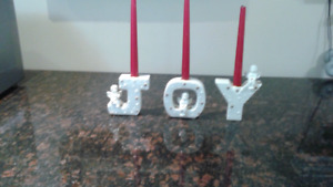 J O Y  CANDLE HOLDERS WITH REAL GOLD ACCENTS